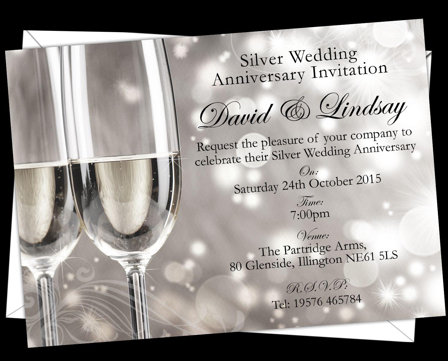 Personalised Silver Wedding Anniversary Invitations