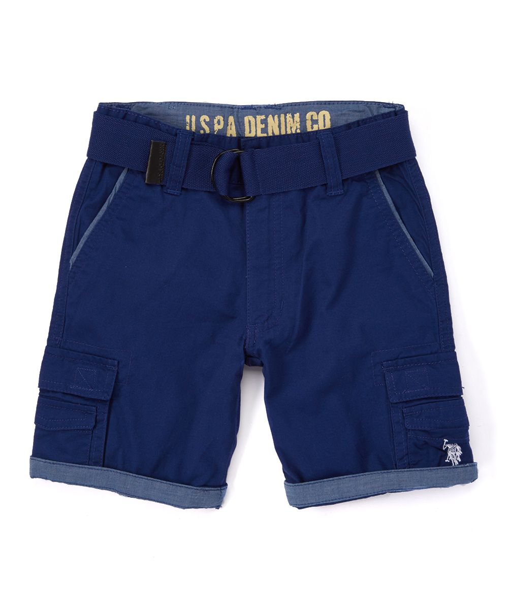 dad0523319 Marina Blue Twill Belted Cargo Shorts - Toddler & Boys   Products ...