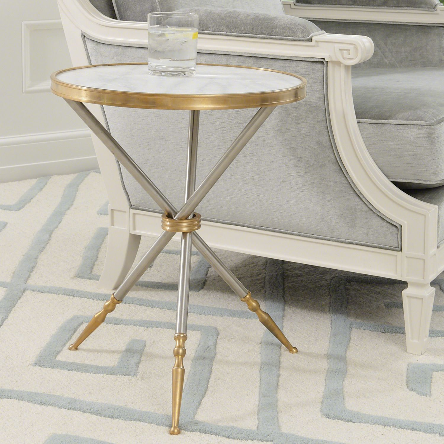 Global Views Furniture Campaign Side Table   White marble side ...