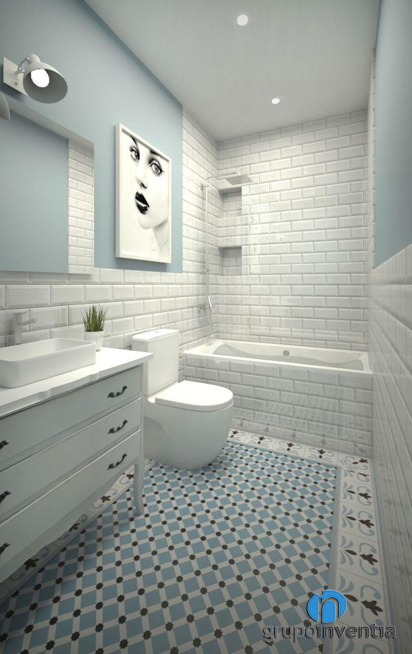 Proyecto 3D de reforma de baño en Tiana. #3D #bathroom #toilet #BCN