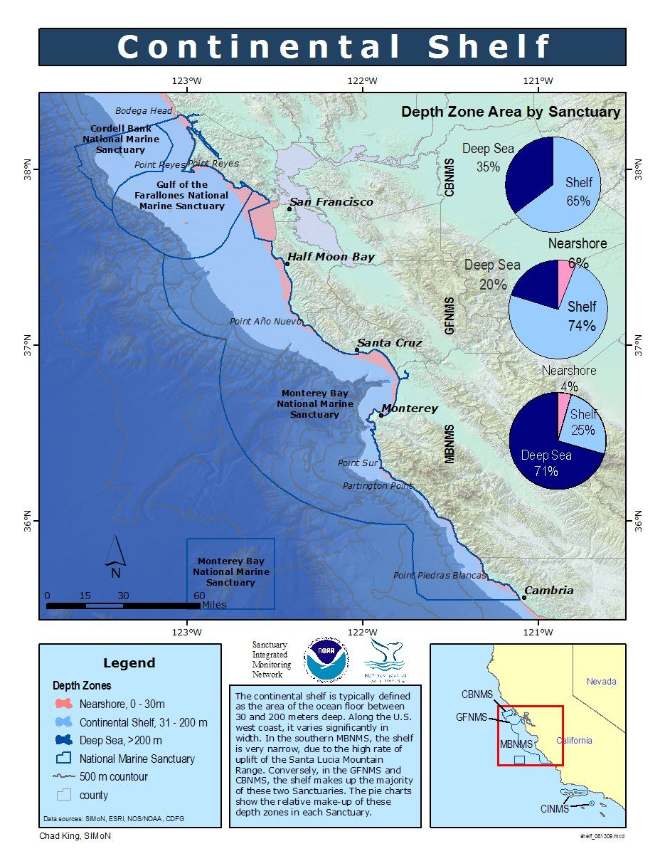 Image result for continental shelf off california