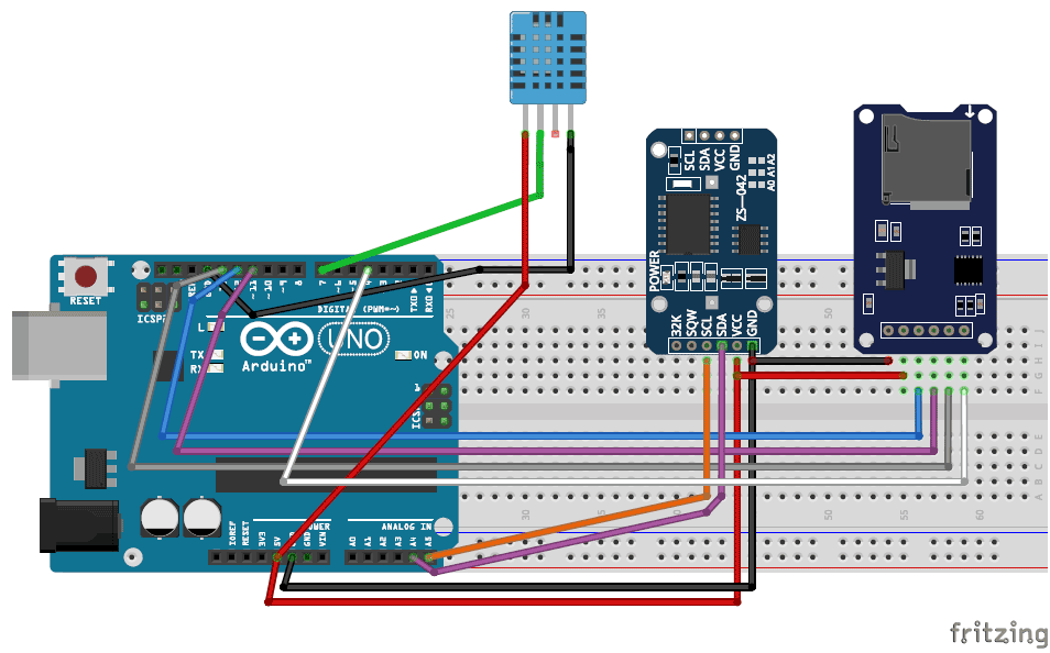 Arduino Temperature Data Logger To Sd Card And Computer