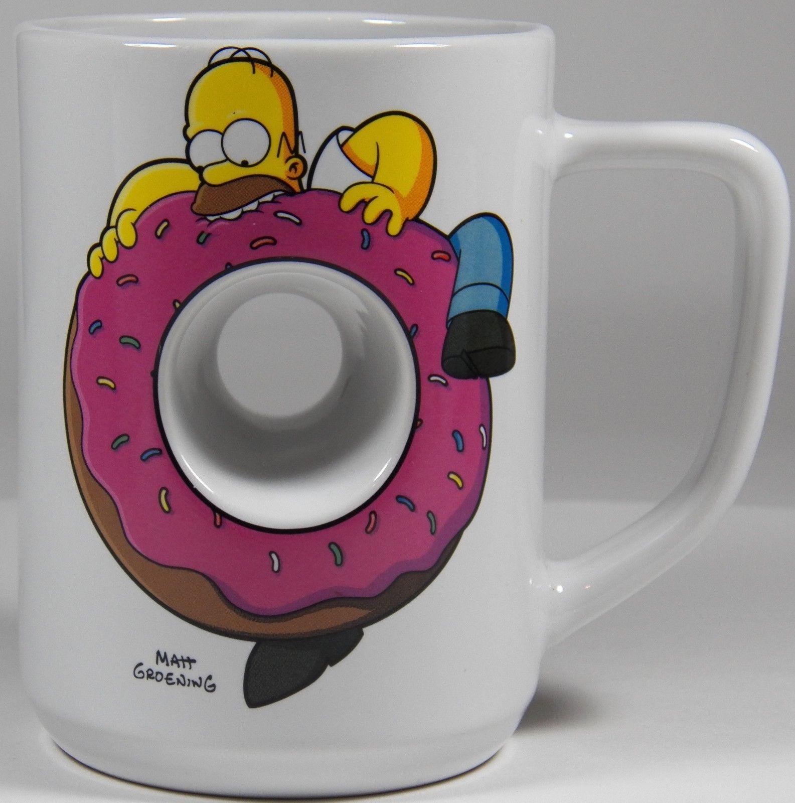 aa2b8c9e177 Universal Studios Homer Simpsons Coffee Mug Cup Donut Hole Pink Sprinkles |  eBay