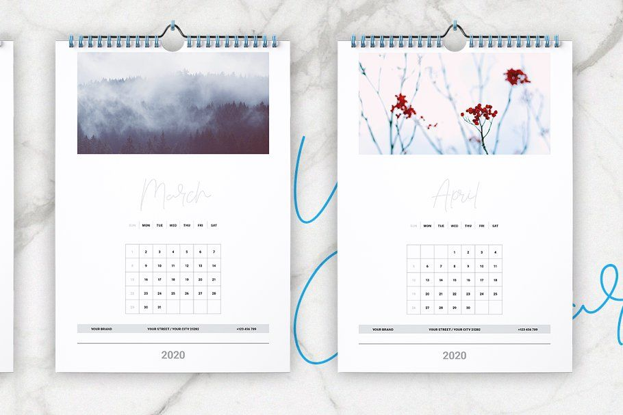Wall Calendar 2020 Layout In 2020 Wall Calendar Calendar 2020 Indesign Templates
