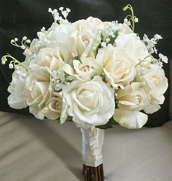 Silk Wedding Bouquet With Champagne And Ivory Roses Natural Touch Flower Bride Almost Fresh