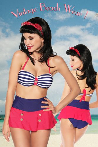 a0d2cb08202384 Nautical Bandeau Skirt Bikini Retro Vintage 50's Pin Up High Waist 8 10 12  14 16   eBay
