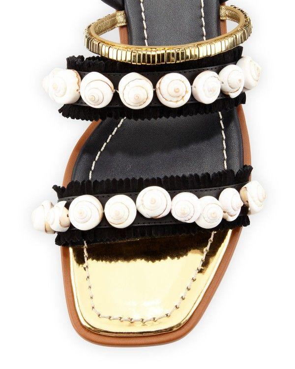 e6bdcc1a63f8 Tory Burch - Sinclair Seashell Ankle-Wrap Sandal Black Sandals