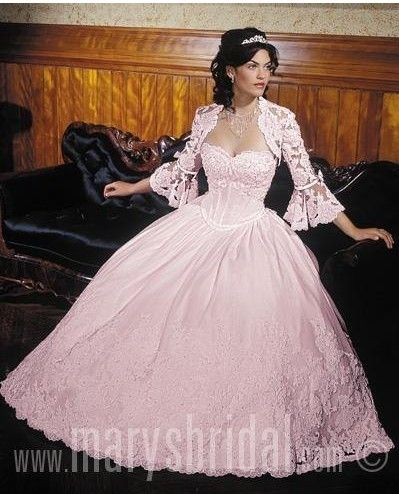 Exquisite ball gown long sleeve neck floor-length Light pink ...
