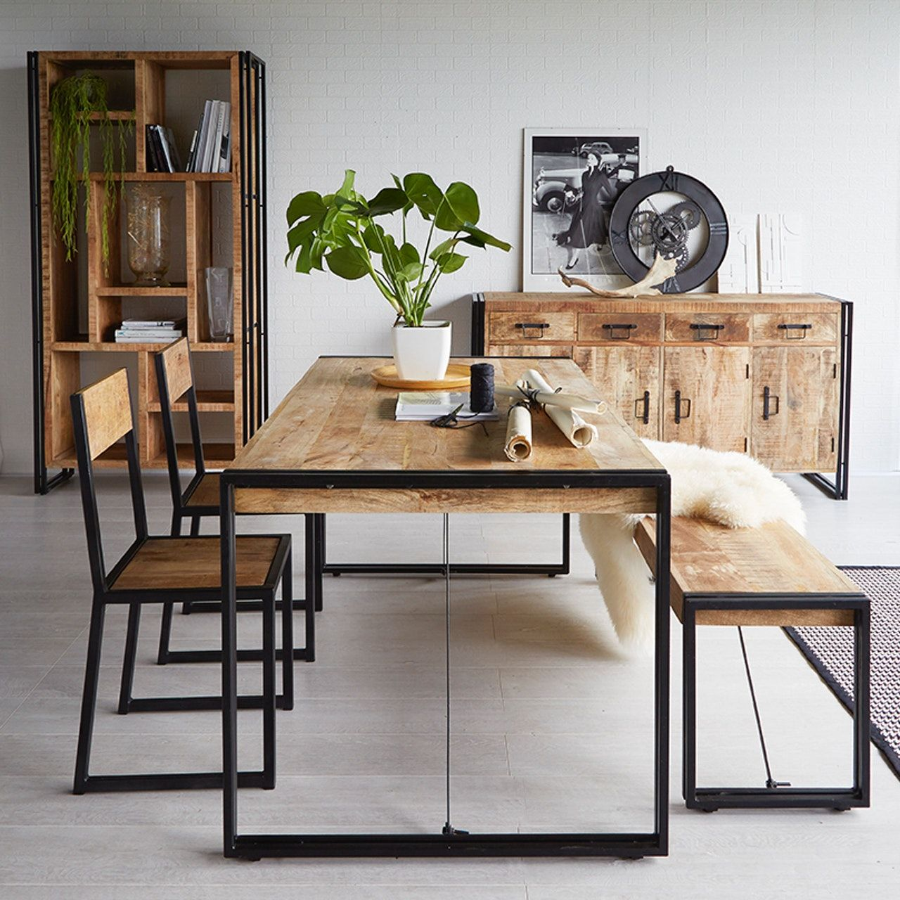 Mango Wood Metal & Wood Dining Table   Large   Möbel, Möbeldesign ...