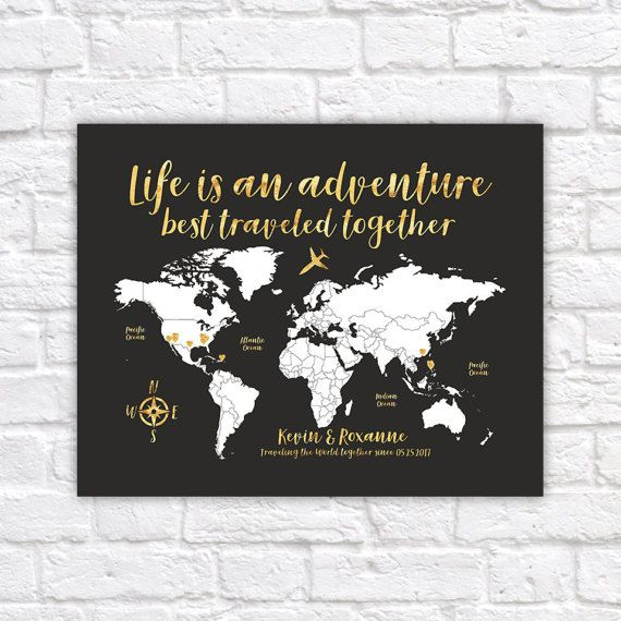 World map travel poster gold travel map travel quote life is an world map travel poster gold travel map travel quote life is an adventure gumiabroncs Images