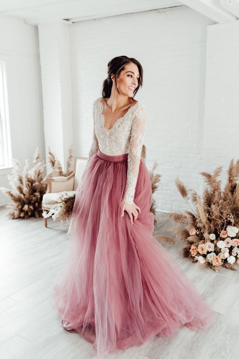 Photo of Vivianne Bodysuit – Wedding Separate – V Neck Wedding Dress …