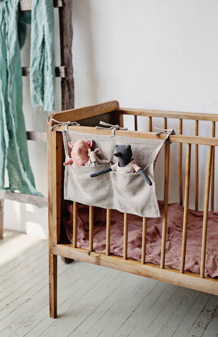 Handmade Natural Linen Baby Crib Nursery Storage Pocket ...