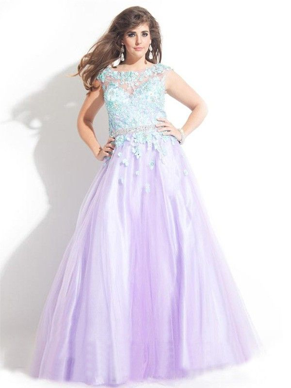 Ball Gown Bateau Sleeveless Applique Floor-length Tulle Plus Size ...