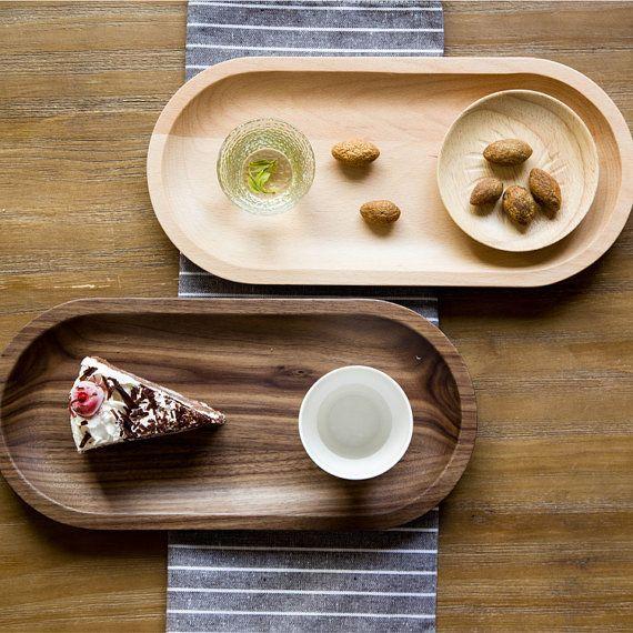 Top 20 Tea Platters: Walnut Beech Wooden Tray Breakfast Tray Tea Tray Eco