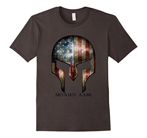 Men's Molon labe USA Warrior Mask T-Shirt 2XL Asphalt RealTM…