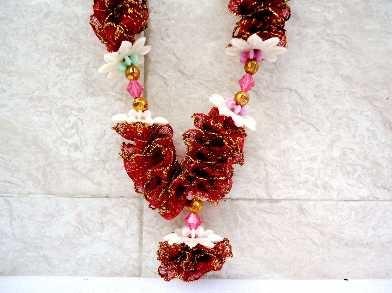 maroon ribbon puja garland, photo garland, statue garland, idol
