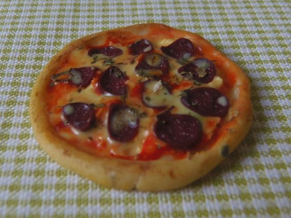 Pepperoni Pizza   Dollhouse Miniatures by MagentaMinis on Etsy
