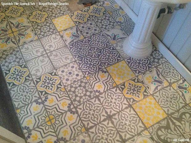 Spanish Tile Stencil Set Stenciled Floor Yellow Bathrooms Yellow Tile
