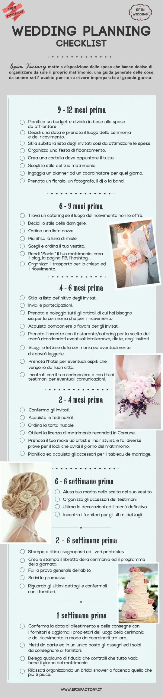 Allestimento Casa Della Sposa ultimate wedding planning checklist in italiano. per la