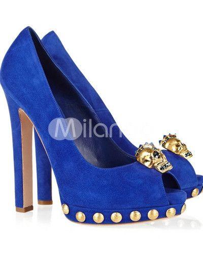 Blue Unique Sheepskin 5 1/2'' High Heel Fashion Shoes - Milanoo.com - StyleSays