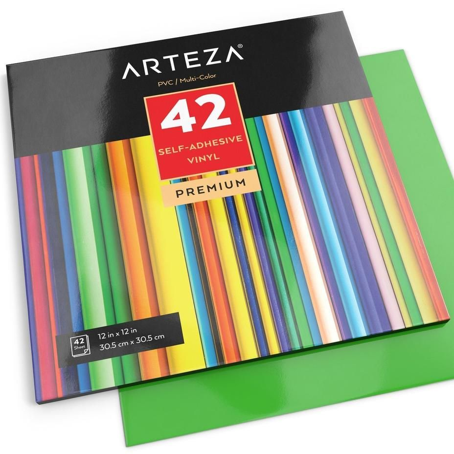 12x12 Self Adhesive Vinyl Set Of 42 Assorted Color Sheets Self Adhesive Vinyl Arteza Default Title Adhesive Vinyl Sheets Fineliner Pens Adhesive Vinyl