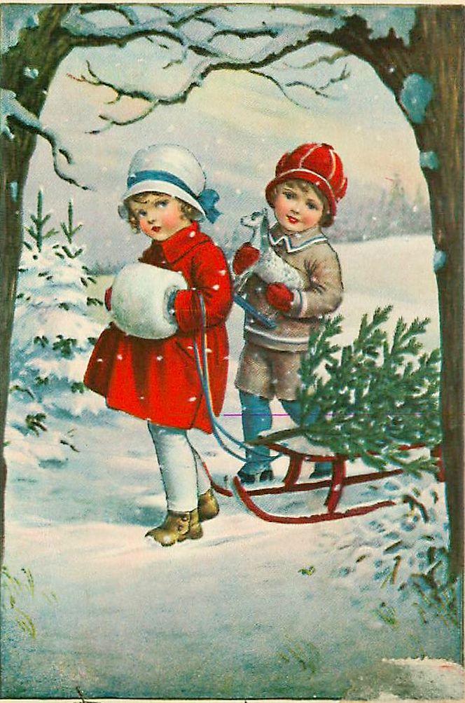 Для, зима открытка ретро