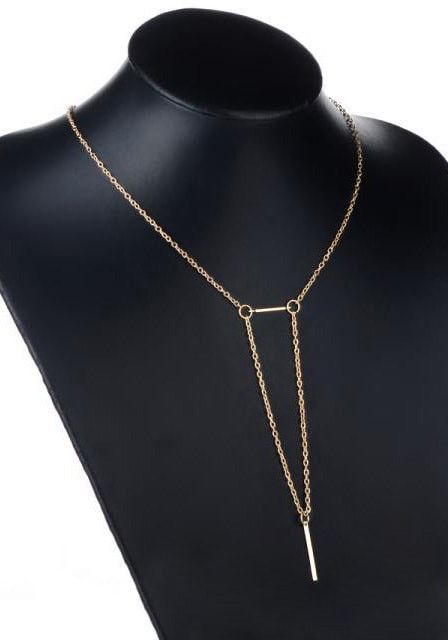 Full view of gold bars necklace