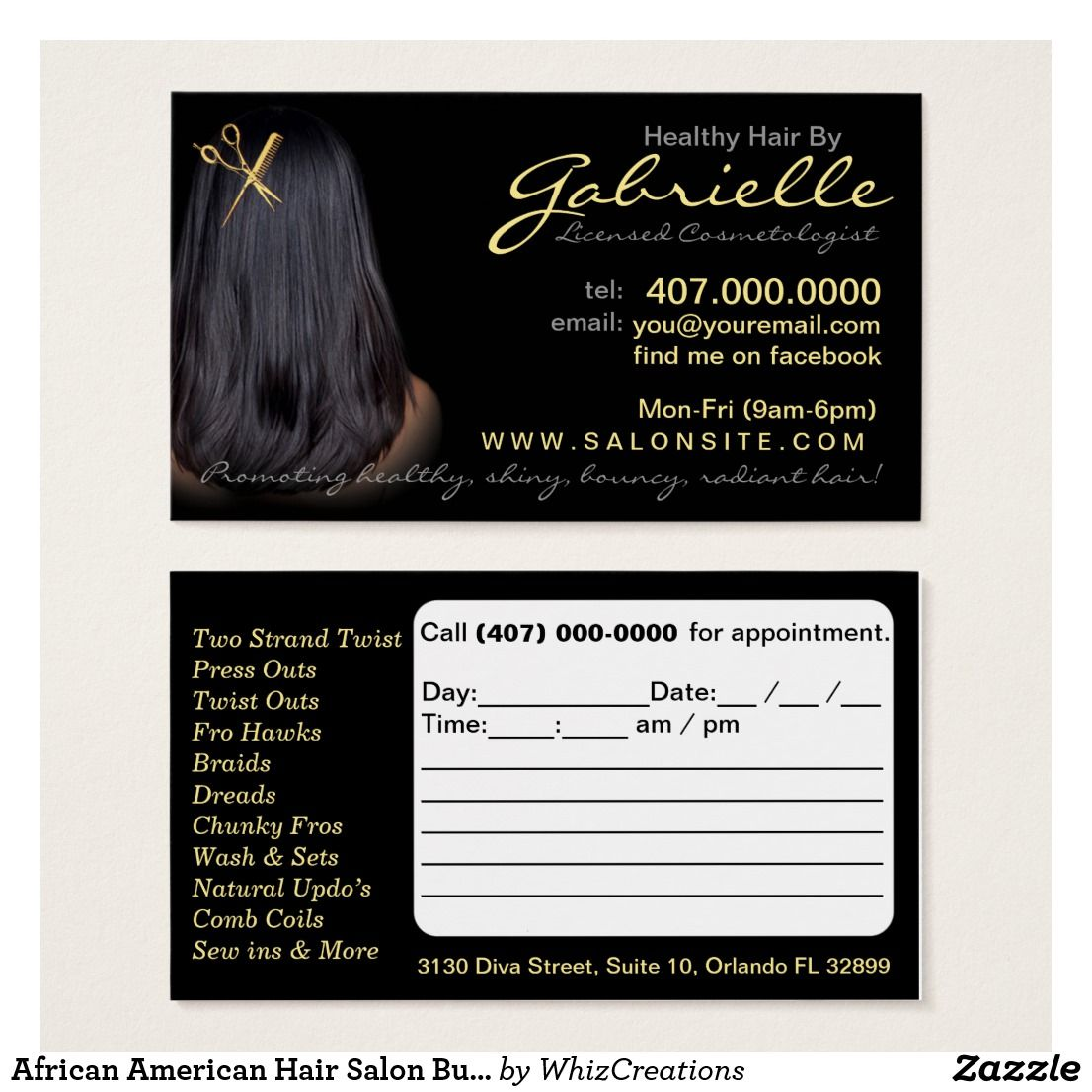African American Hair Salon Business Cards Zazzle Com African