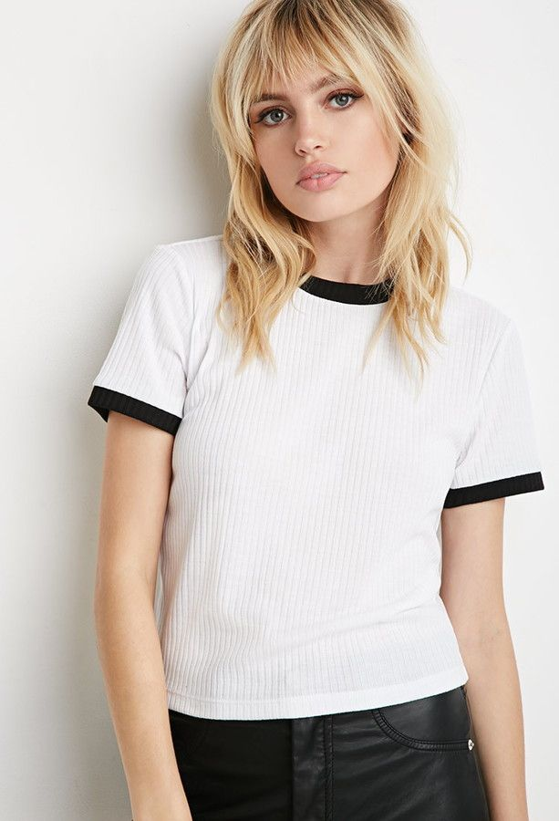 Ribbed Knit Ringer Tee in White/Black