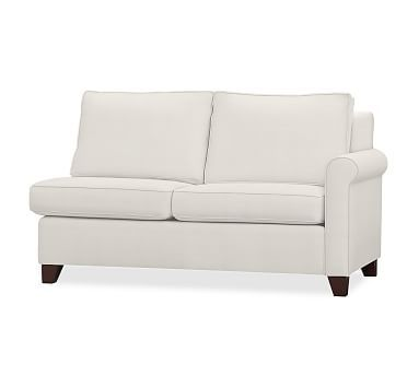 Cameron Roll Arm Upholstered Right-arm Loveseat, Polyester Wrapped Cushions, Organic Cotton Basketweave Warm White