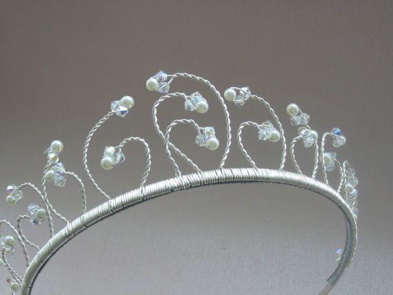Handmade Swarovski crystal and pearl wedding tiara, bridal headdress. FREE UK P  P
