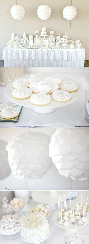 White dessert table - wedding