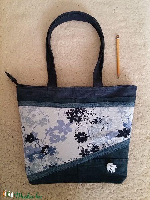 e42b37ebfb Sötétkék farmer táska virágos mintával (nusitasi | Bag - táska ...