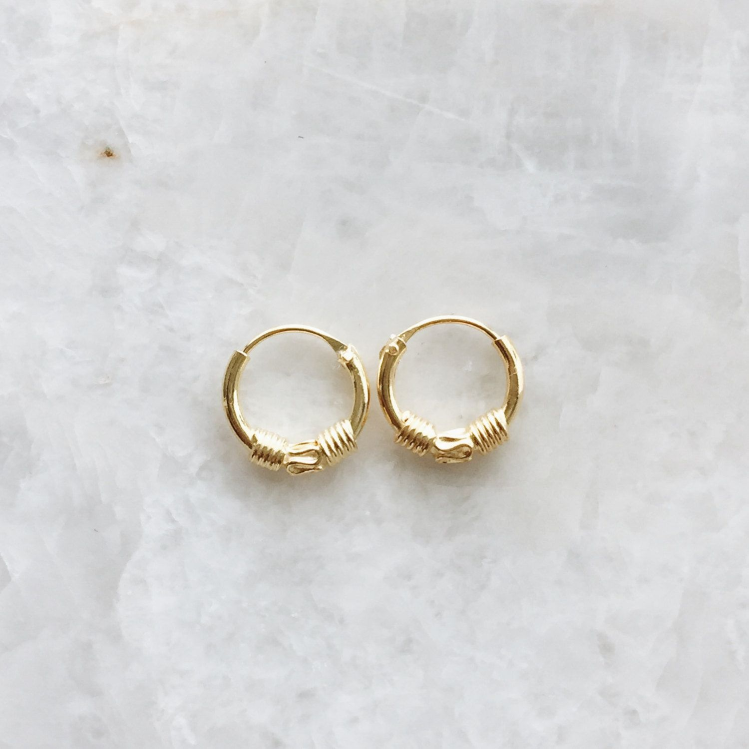 Gold Plated Bali Style Tribal Ear Hoops, Tiny Gold Balinese Hoop Earrings,  Tribal Style