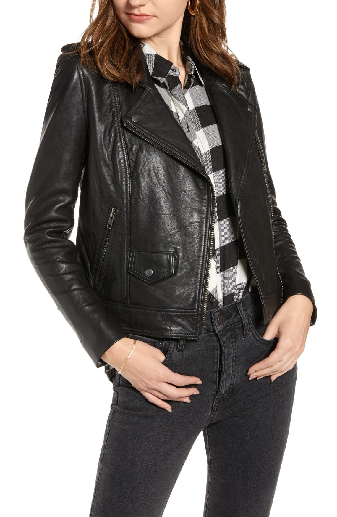Treasure & Bond Leather Biker Jacket Nordstrom Washed