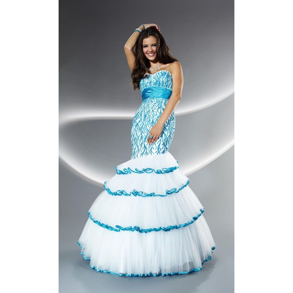 White Combined Blue Mermaid Prom Dresses | prom dresses ...