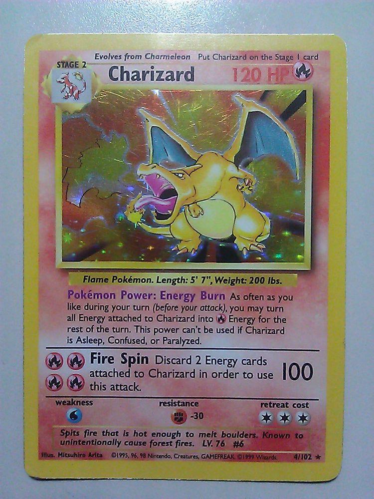 Charizard base holographic 4102 original pokemon misprint