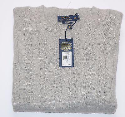 $398 NWT Authentic Polo Ralph Lauren 100% Cashmere Crewneck Grey Sweater XXL