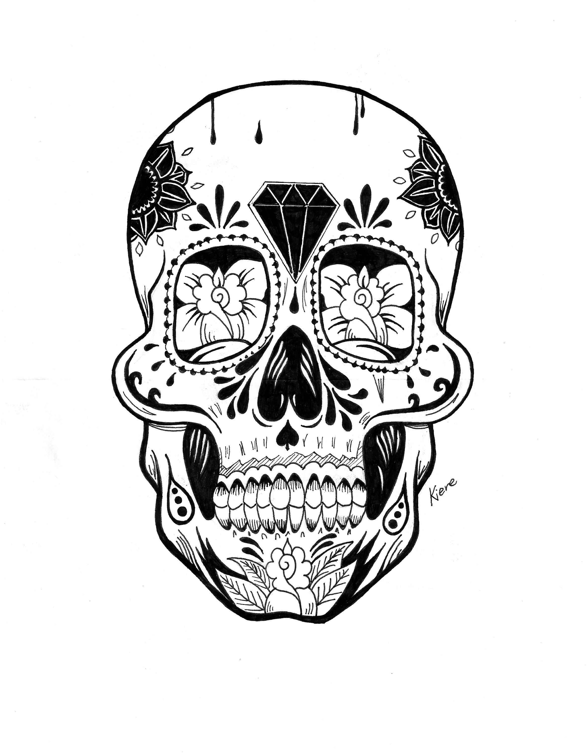 mexican skull traditional tattoo black ink