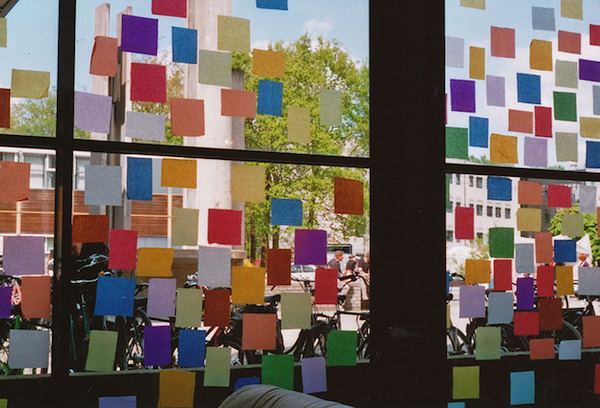 random squares on the window, great idea to reduce the sight
