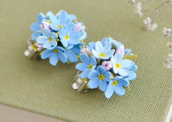 d06a2210e Forget me not clip on earrings, Forget me not jewelry, Myosotis ...