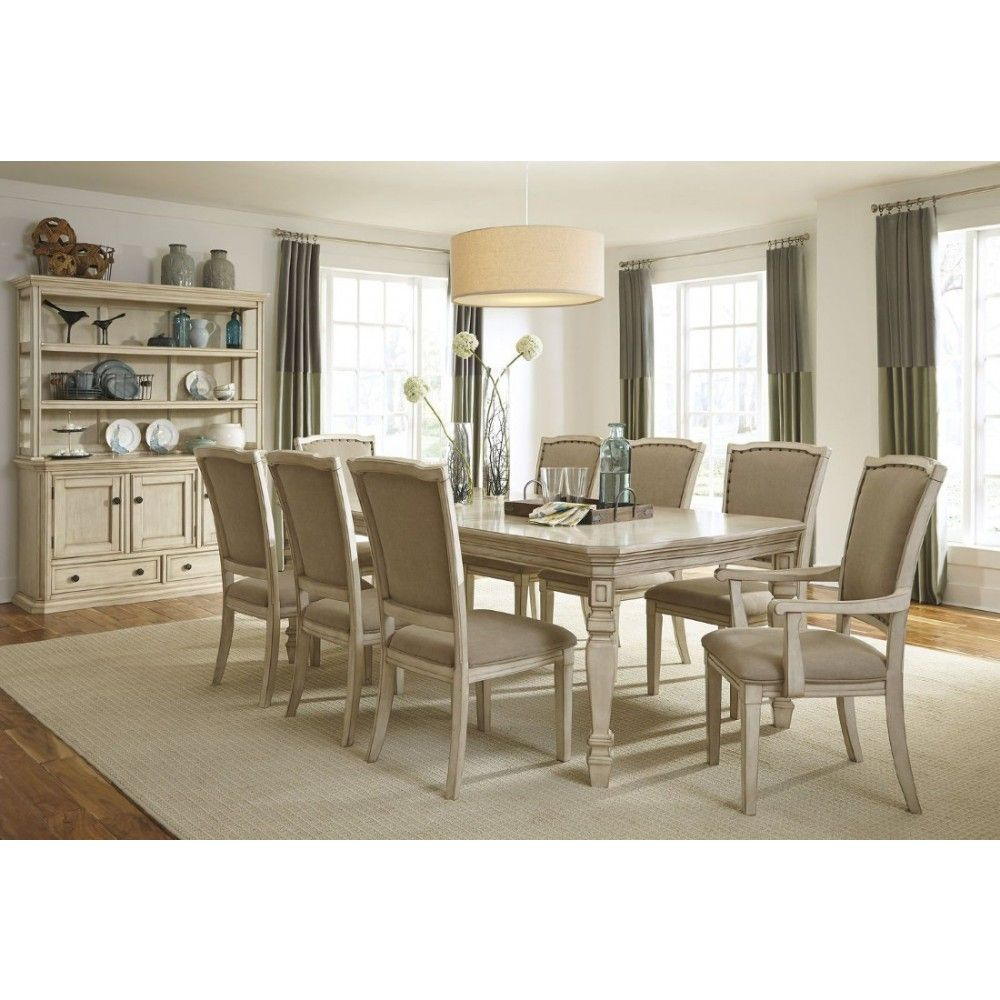 Ashley Furniture Demarlos Butterfly Extension Dining Table Set In Parchment White