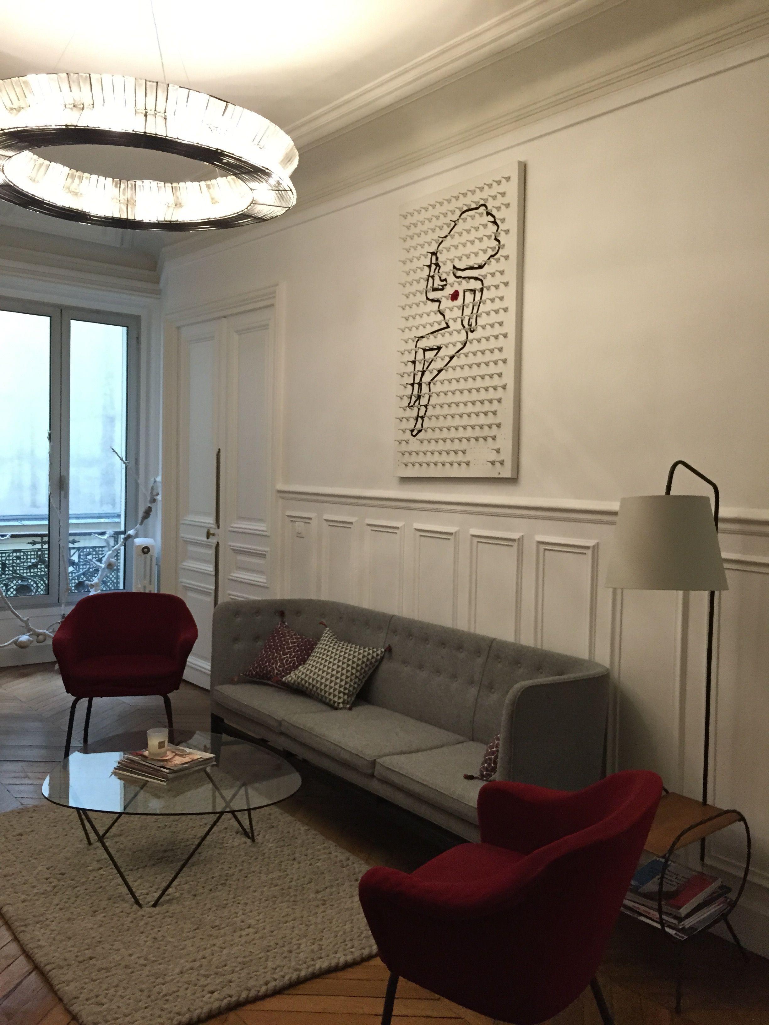Living Room / Desing / Grey Sofa / Red Armchair / Beige Rug