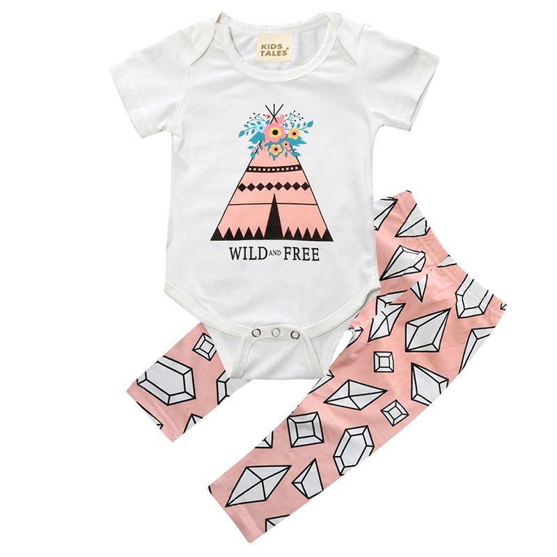 f59f03f31523 Baby Cartoon Tops Romper Summer Cotton Print Short Sleeve Bodysuit Pants Outfits  Set Clothing Newborn Baby Girls Clothes Sets