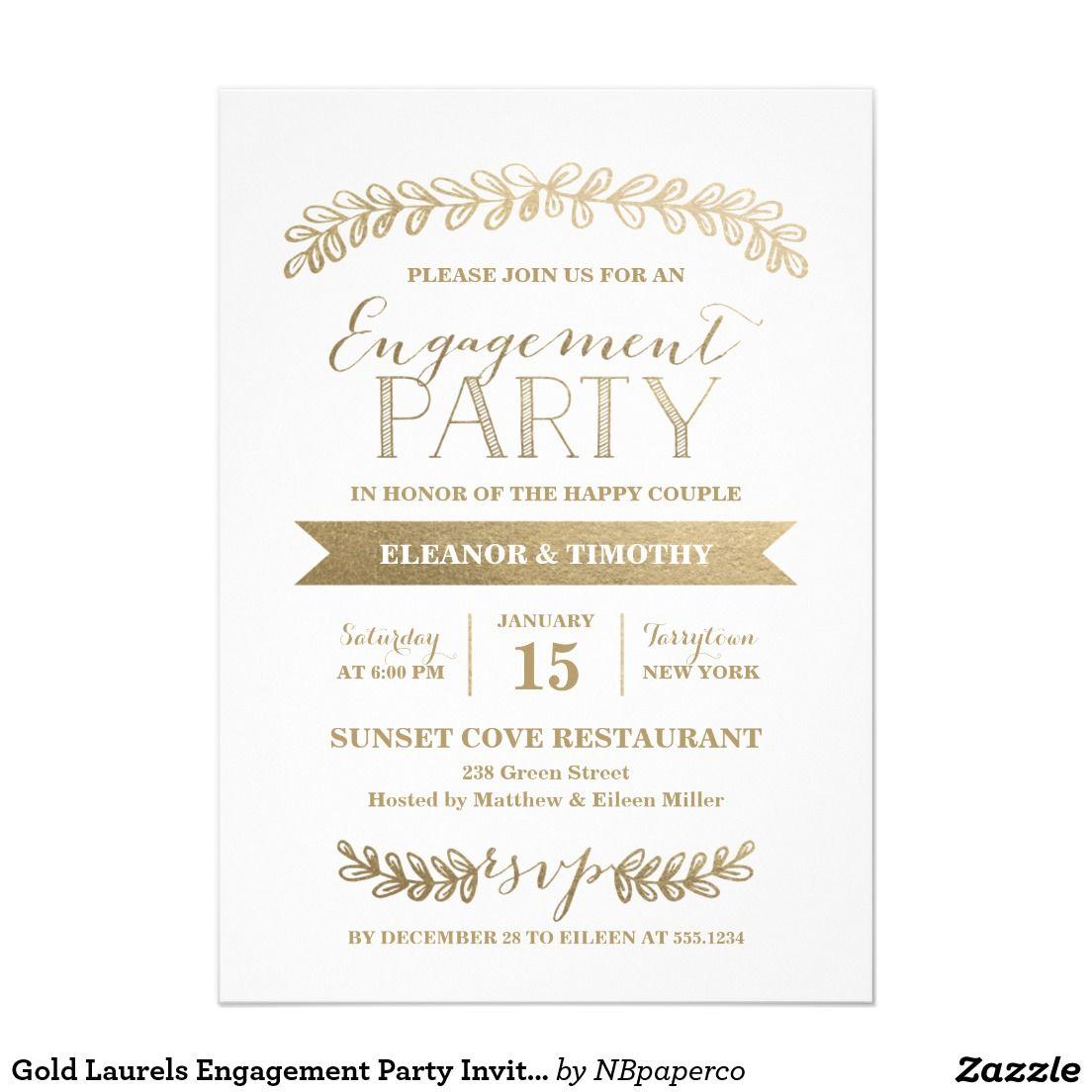Gold Laurels Engagement Party Invitation | Wedding :Engagement Party ...