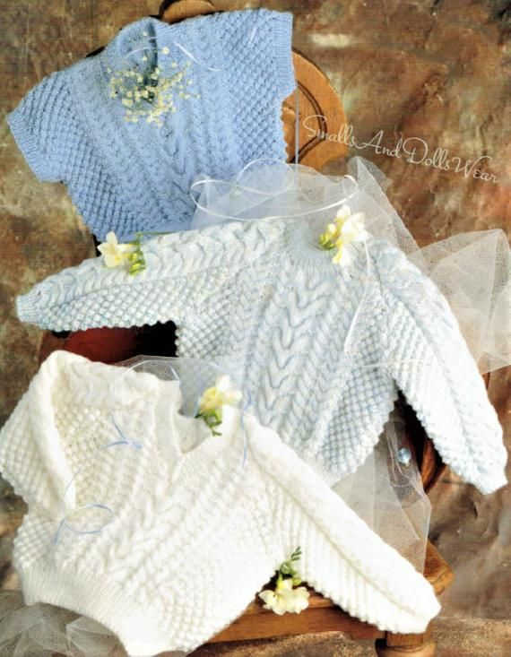 90958f43f Vintage Knitting Pattern Baby Boy Pullover Sweaters Herringbone ...