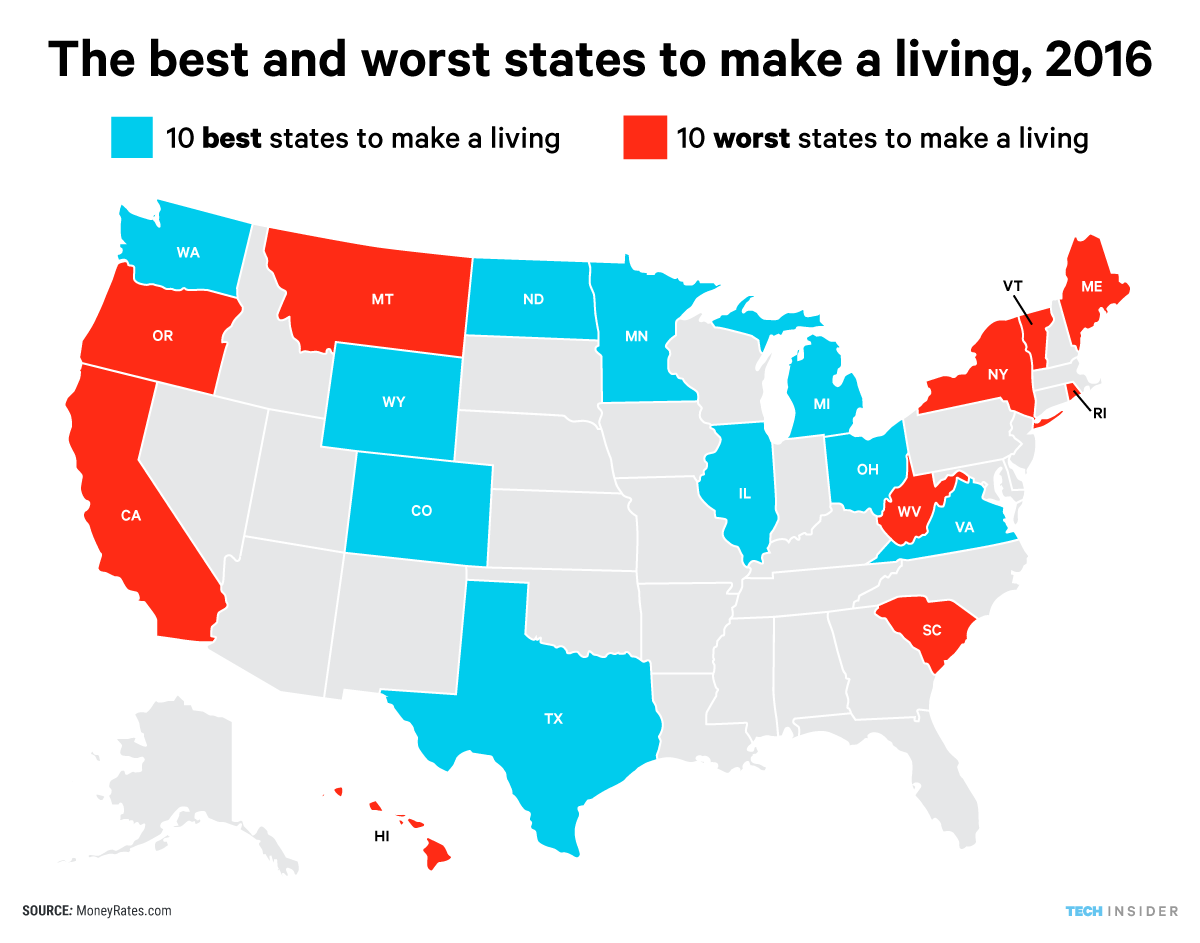 The Best And Worst States To Make A Living In 2016 North America Map Map Best Places To Live