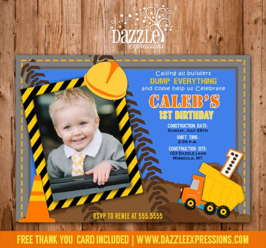 Dump Truck Road Construction Birthday Photo Invitation Thank You - invitation card for ist birthday