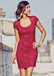 Bella Cap-Sleeve Lace Dress