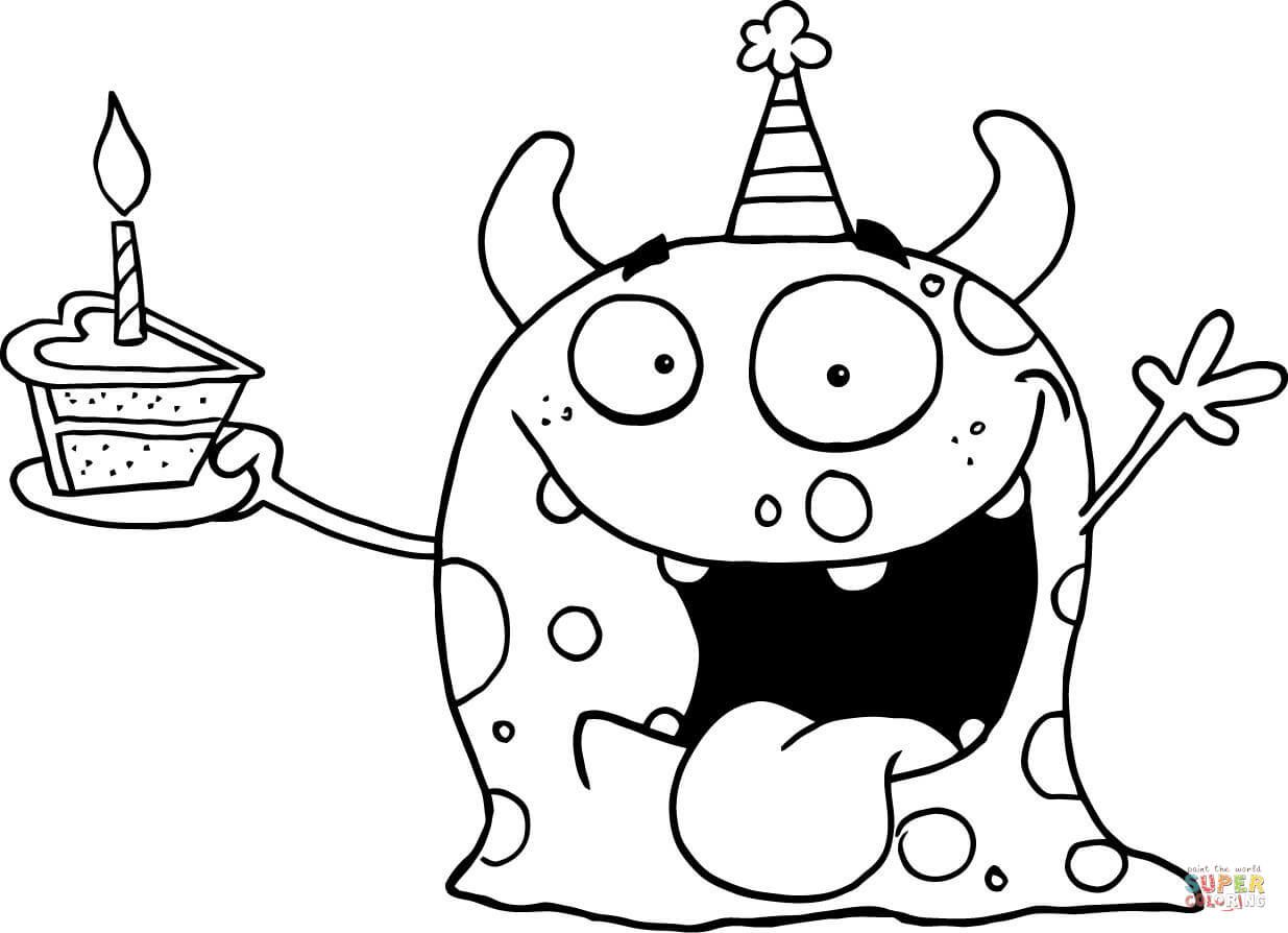 Happy Monster Celebrates Birthday with Cake coloring page ...